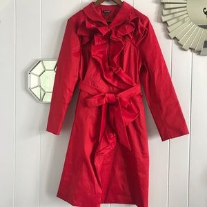 Samuel Dong Red Abstract Ruffle Jacket/Coat L